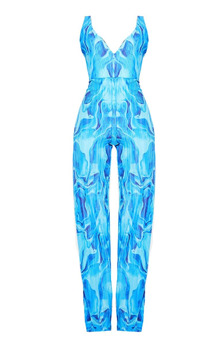 Blue Marble Print Plisse Plunge Jumpsuit 5