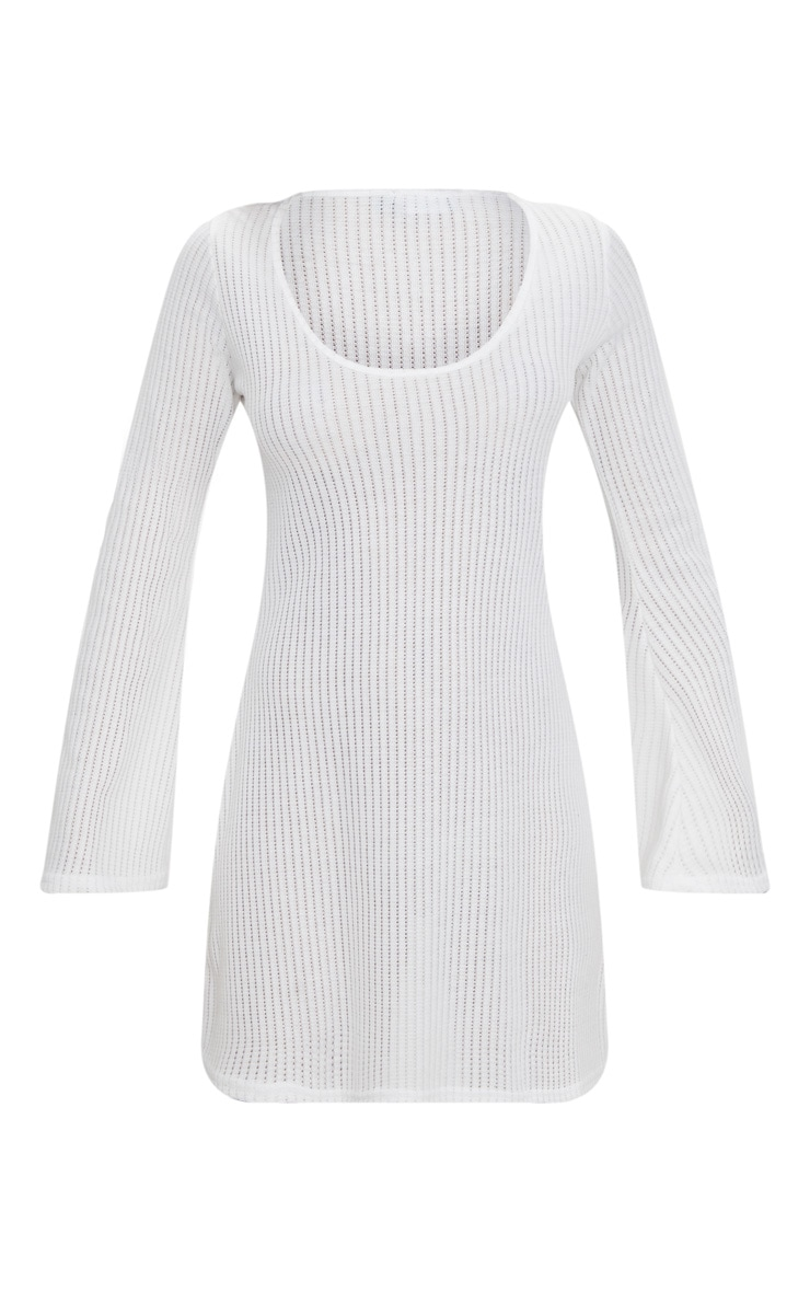 White Ribbed Flare Sleeve Shift Dress 3