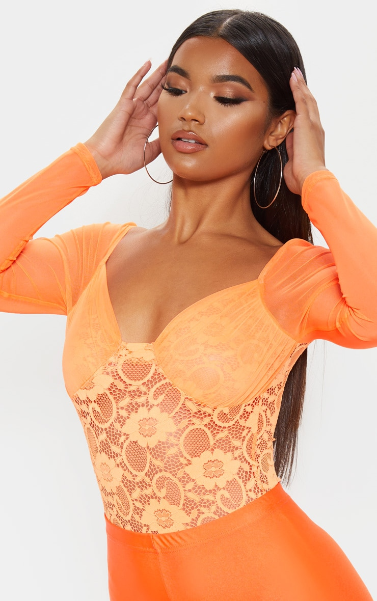 Orange Chiffon Sleeve Lace Bodysuit 6