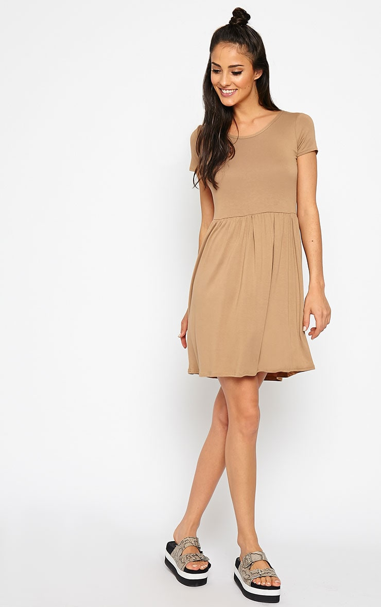 Basic Camel Skater Dress 3