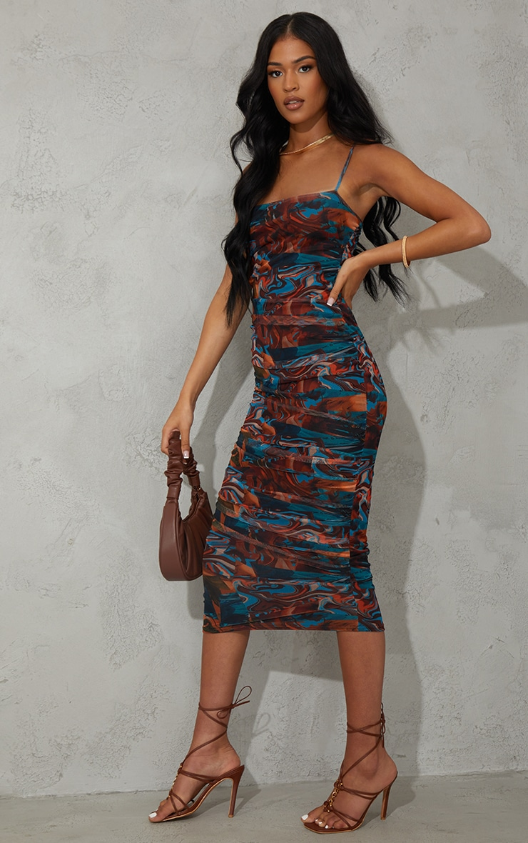 Tall Brown Marble Mesh Ruched Midi Dress 3
