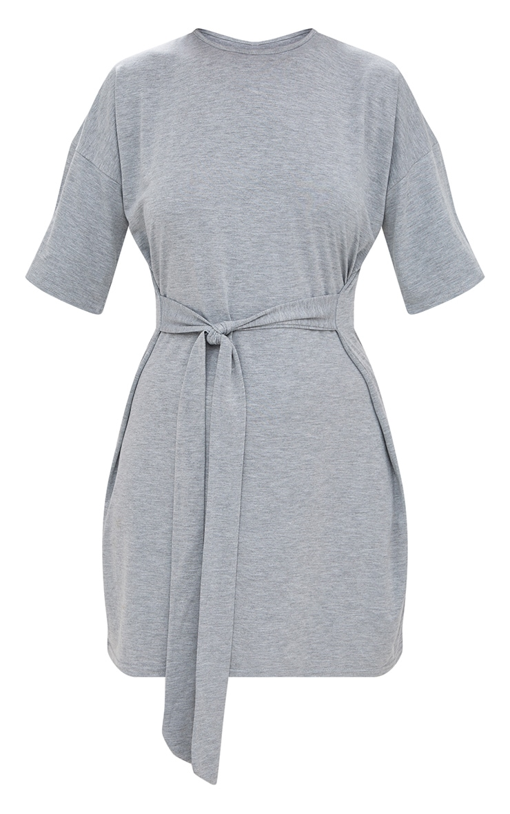 Grey Tie Waist T Shirt Dress 3