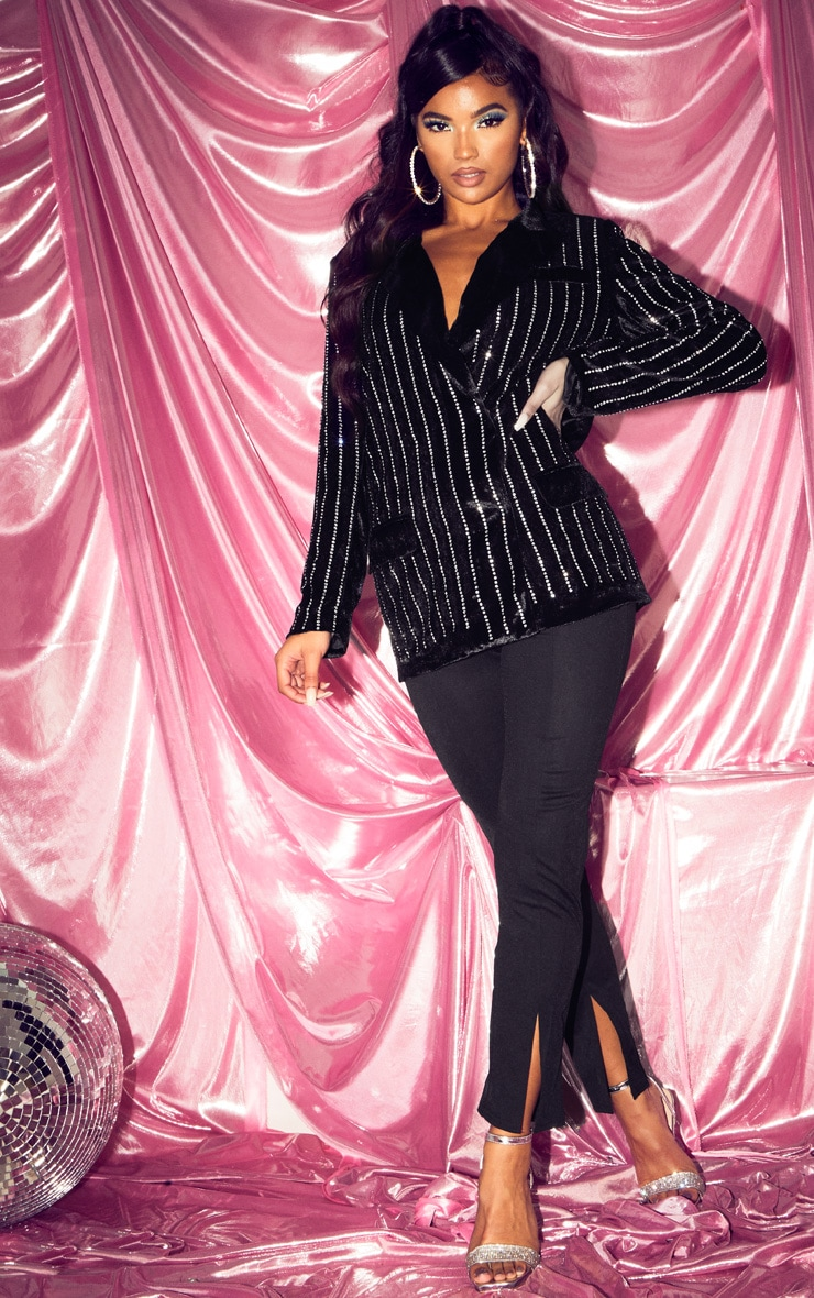 Black Velvet Diamante Oversized Blazer 1