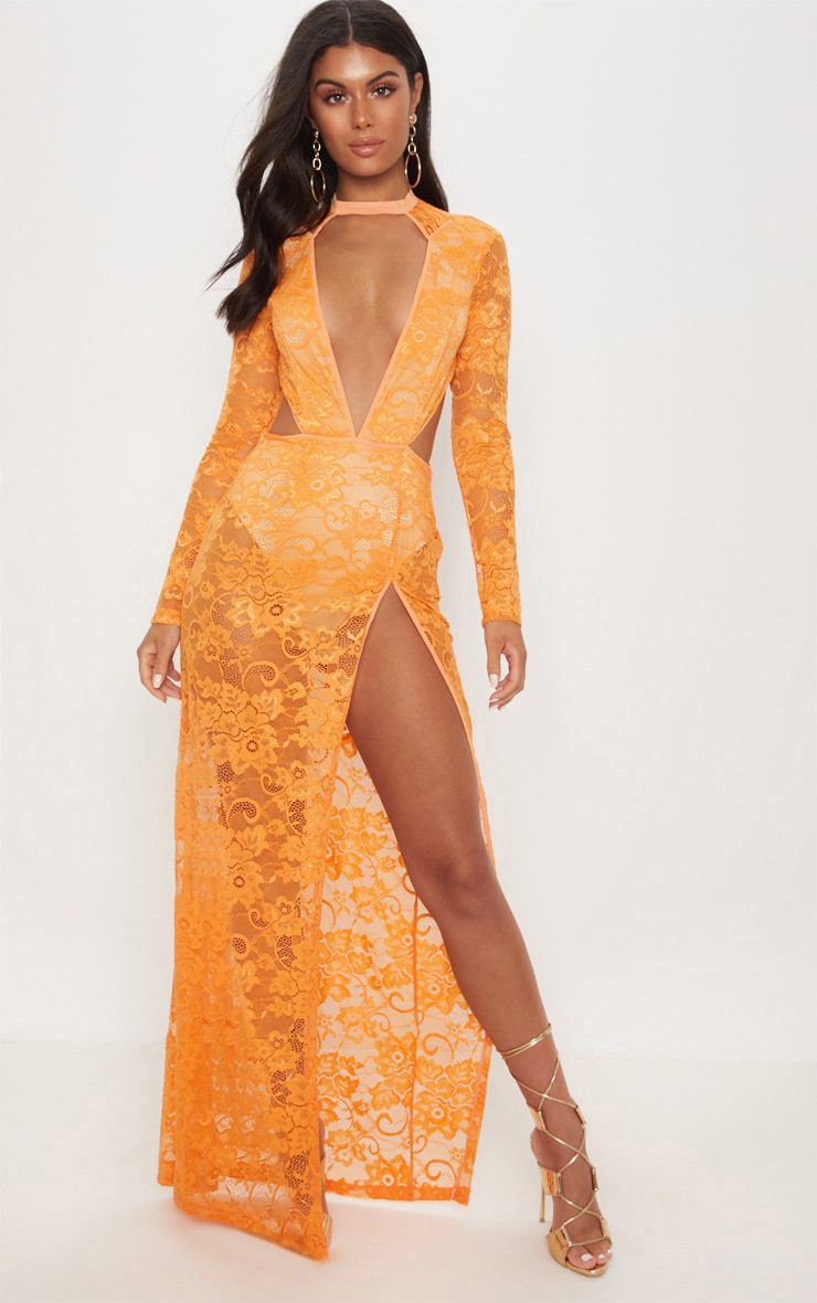 Tangerine Lace Plunge Backless Maxi Dress 1
