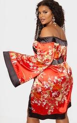 Plus Red Bardot Oriental Flare Sleeve Bodycon Dress 2
