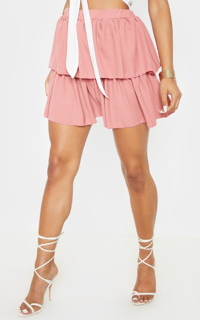 Dusty Pink Woven Frill Tiered Mini Skirt