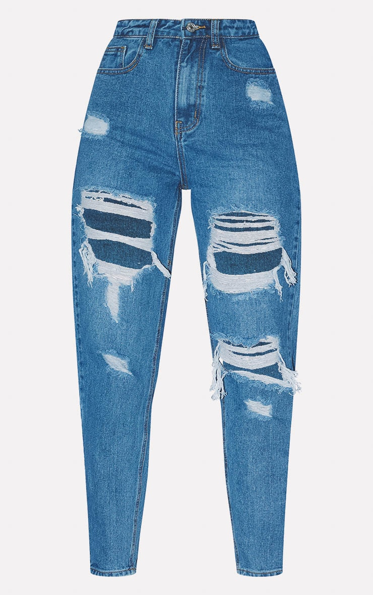 PRETTYLITTLETHING Mid Blue Distressed Mom Jean 3