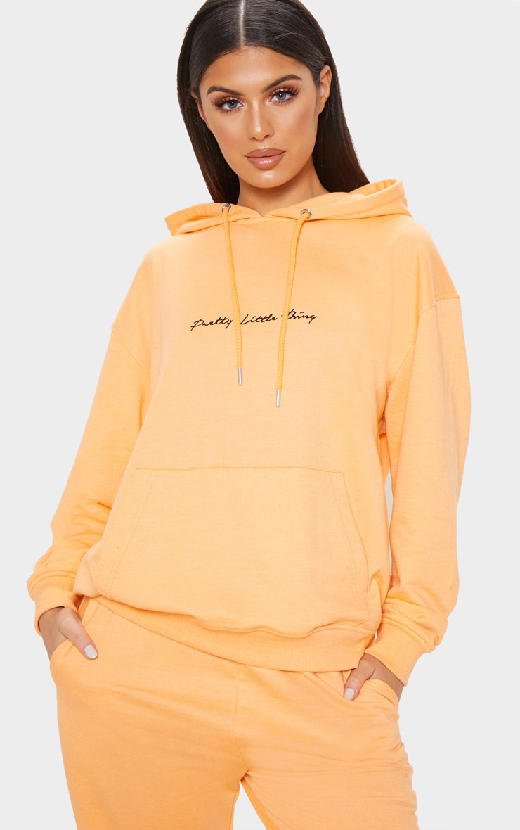 PRETTYLITTLETHING Tangerine Embroidered Oversized Hoodie 1
