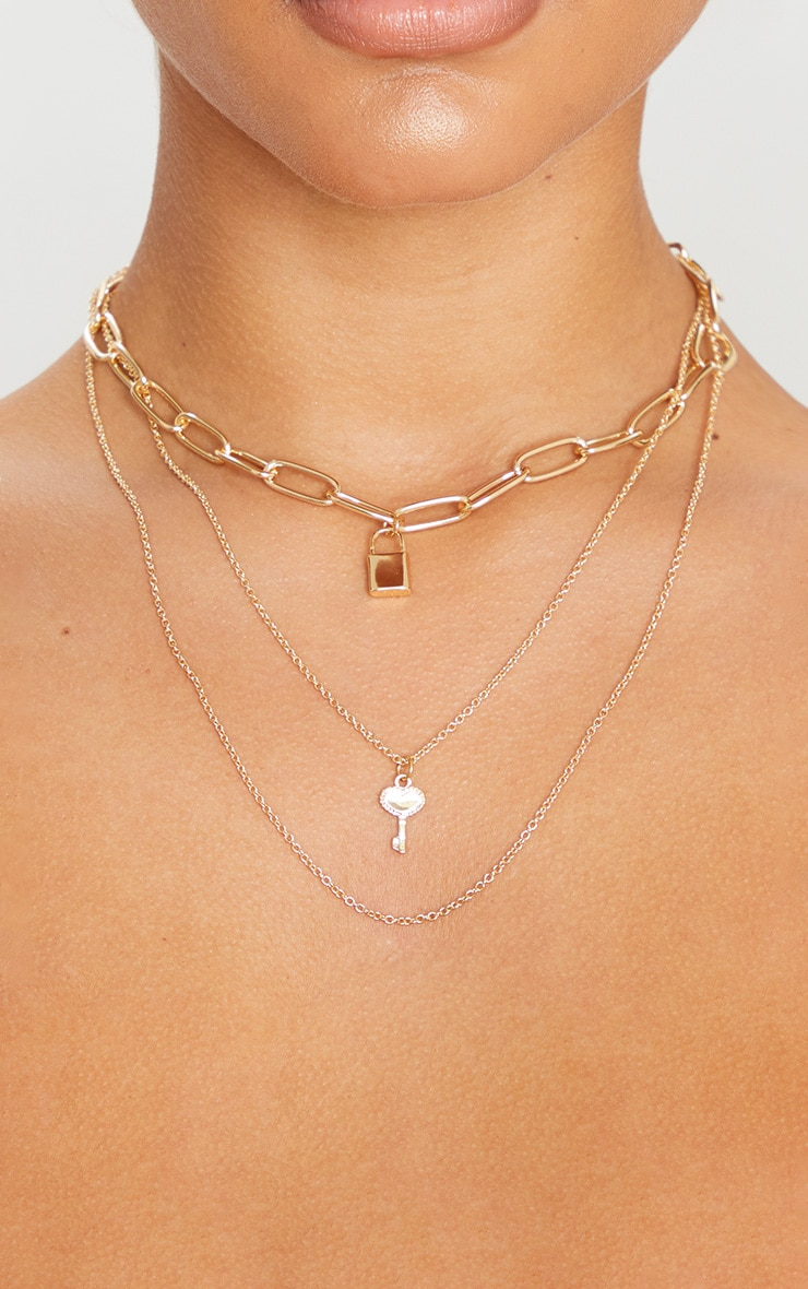 Gold Padlock And Key Link Triple Layering Necklace 2