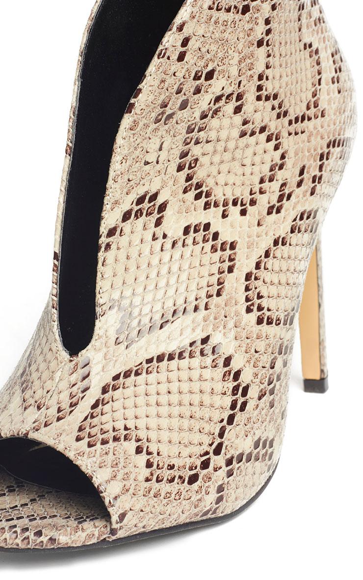 Jazmina Snake Effect Open Front Heels 5