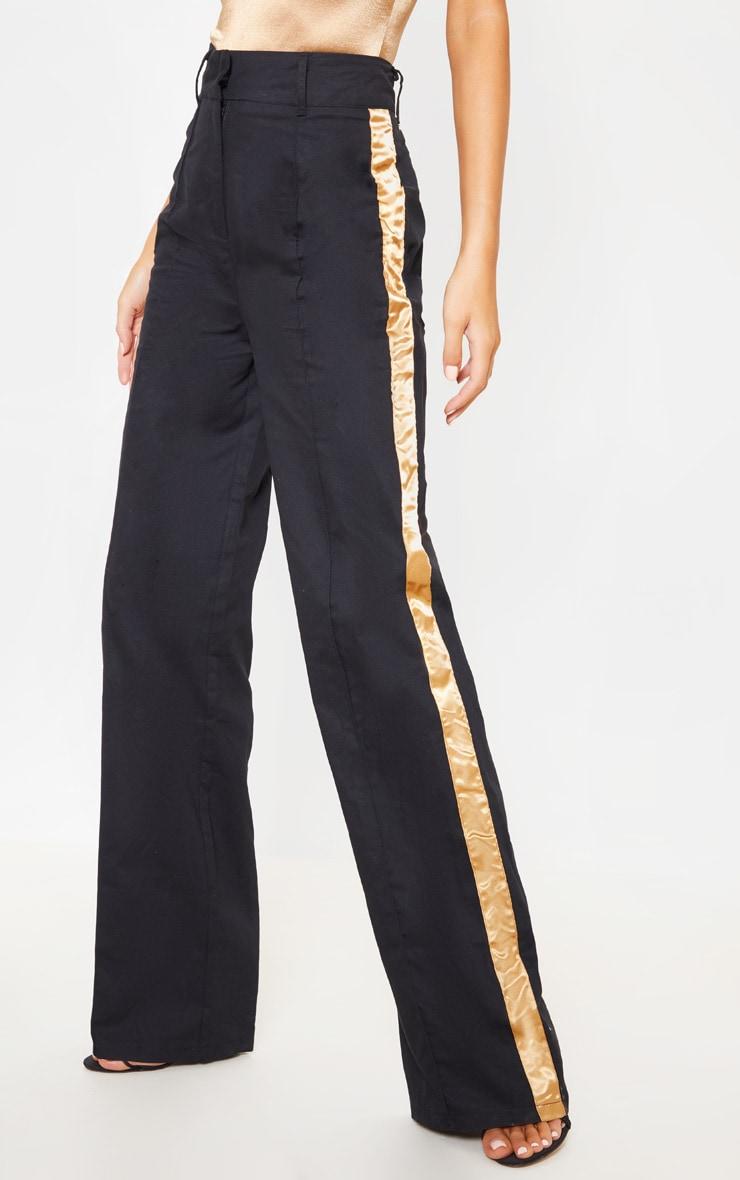 Black Contrast Side Ribbon Wide Leg Trousers 2