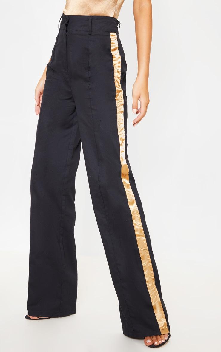 Black Contrast Side Ribbon Wide Leg Pants 2