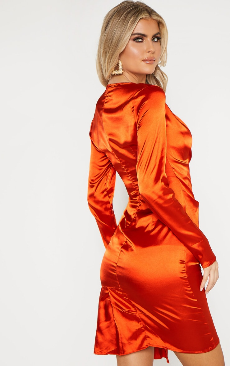 Tall Orange Satin Ruched Long Sleeve Bodycon Dress 2