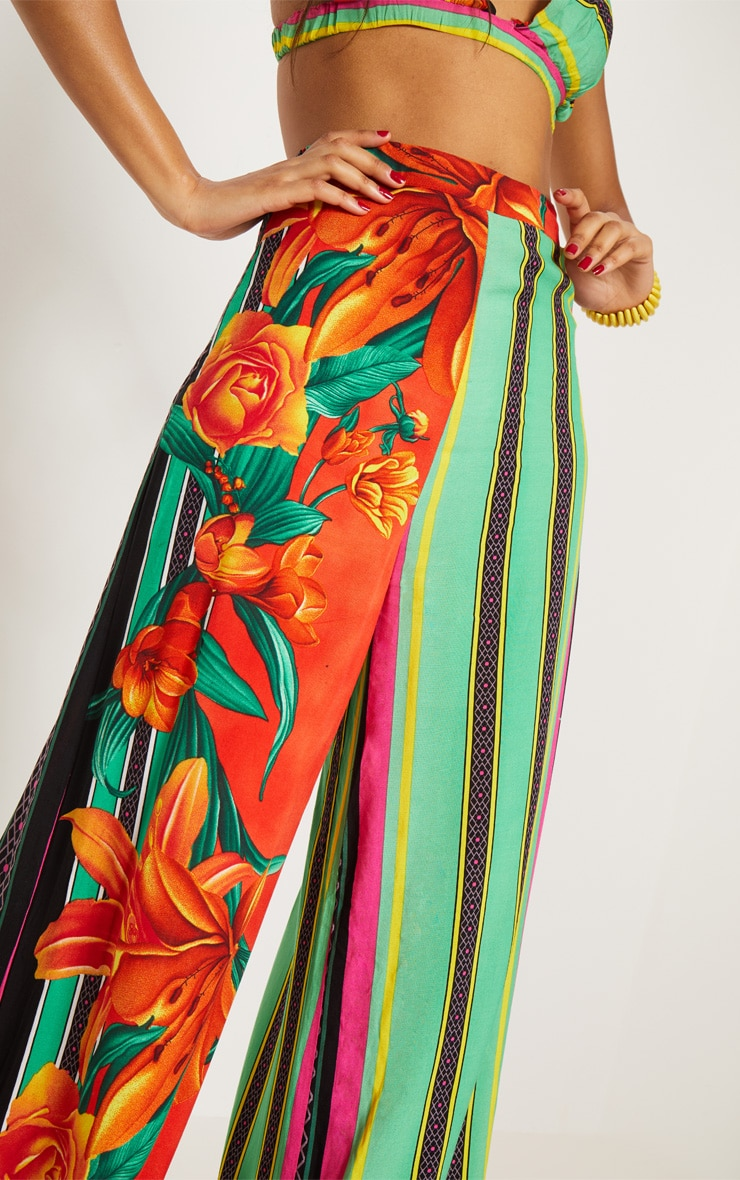 Multi Mixed Print Tropical High Waisted Wide Leg Trousers 6