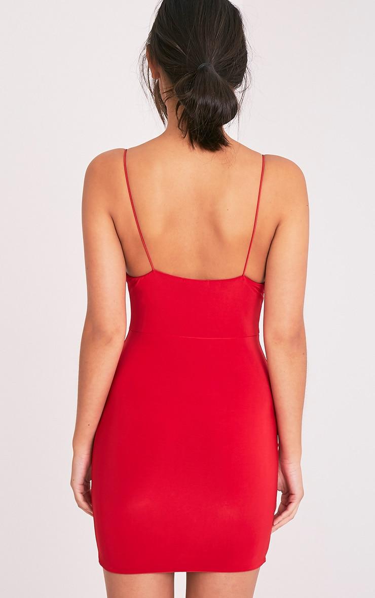 Ayishah robe moulante rouge près du corps à décolleté plongeant et bretelles 2