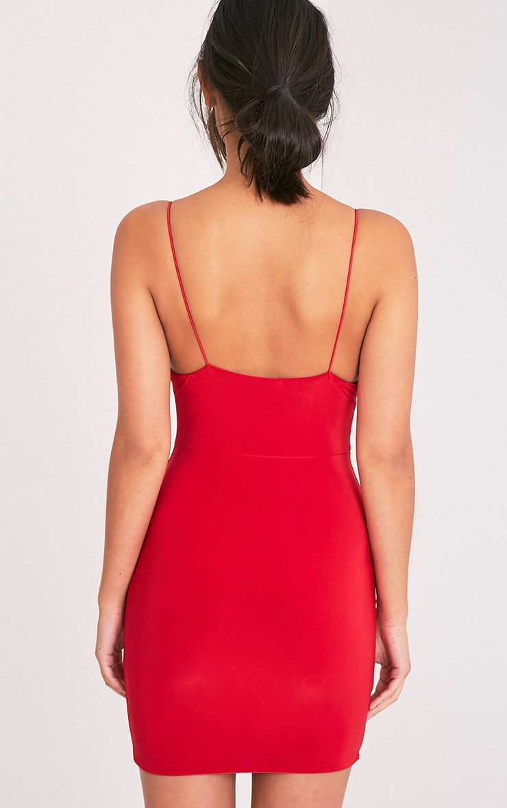 Ayishah Red Slinky Strappy Plunge Bodycon Dress 2