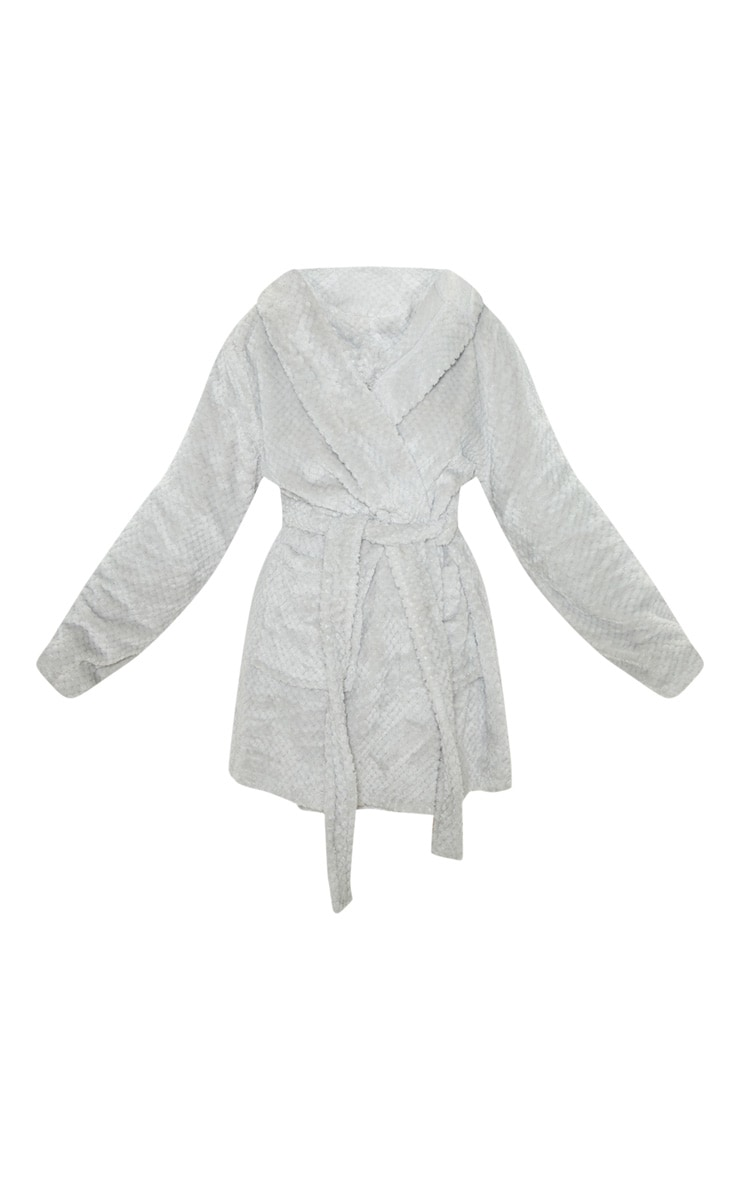 PRETTYLITTLETHING Light Grey Textured Fluffy Dressing Gown 3