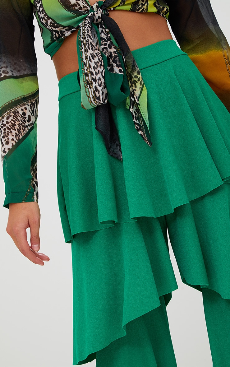 Green Tiered Frill Wide Leg Trousers 5