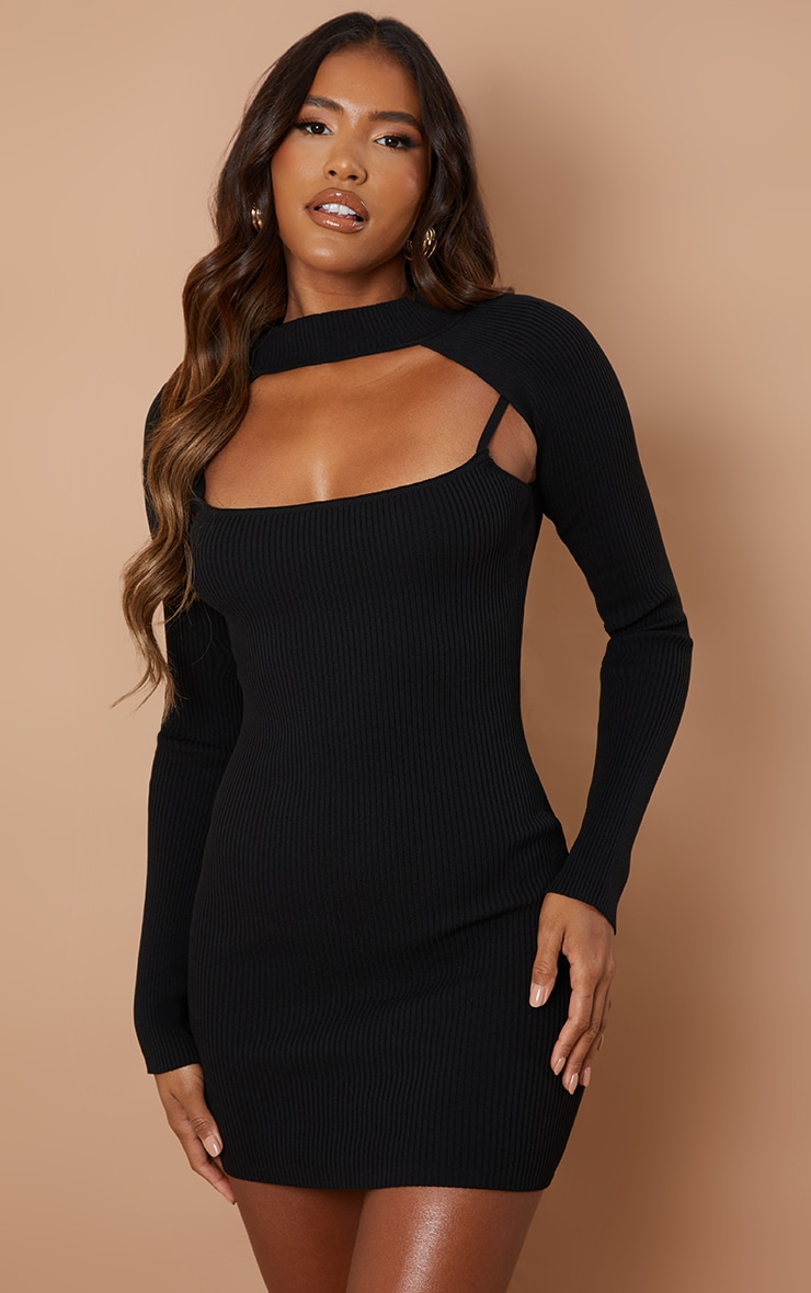 Black Knitted Bodycon Dress With Sleeves 1
