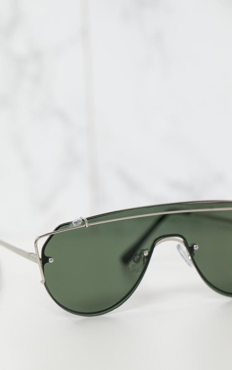 Silver Sporty Curve Aviator Sunglasses 4