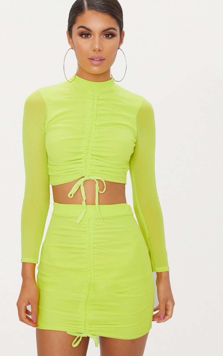 Lime Mesh Ruched Front Long Sleeve Crop Top 1