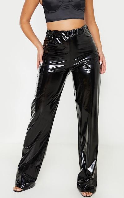 Black Vinyl Straight Leg Trousers