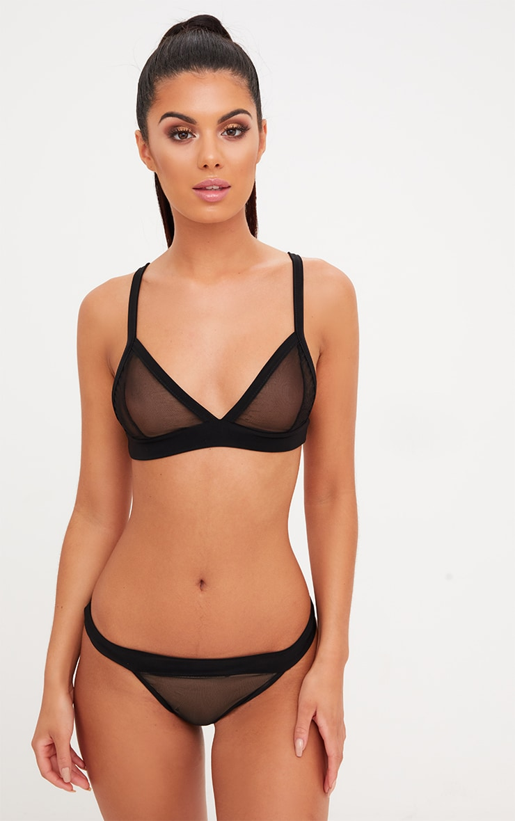 51635aa460b78 Black Mesh Triangle Bra Set image 1