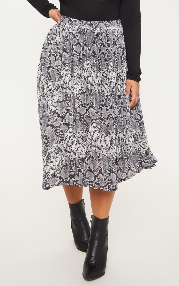 Plus Grey Snake Print Pleated Midi Skirt 2