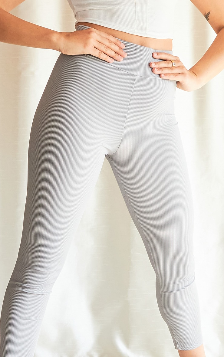 Grey Ribbed High Waisted Leggings 4