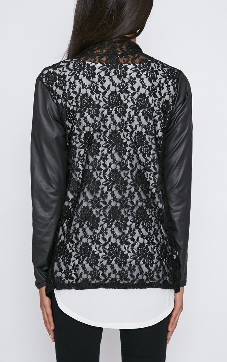 Stevie Black Lace Leather Sleeve Waterfall Jacket 2