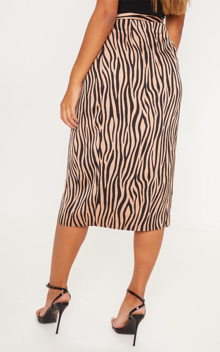 Champagne Zebra Print Satin Wrap Midi Skirt 4