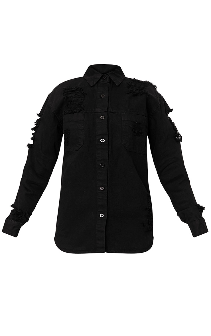 Ferne Black Super Shred Denim Shirt 3