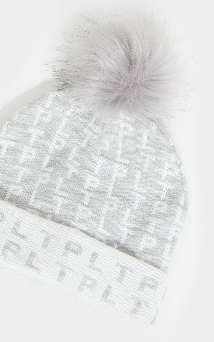 PRETTYLITTLETHING All Over Pom Pom Grey Beanie 2