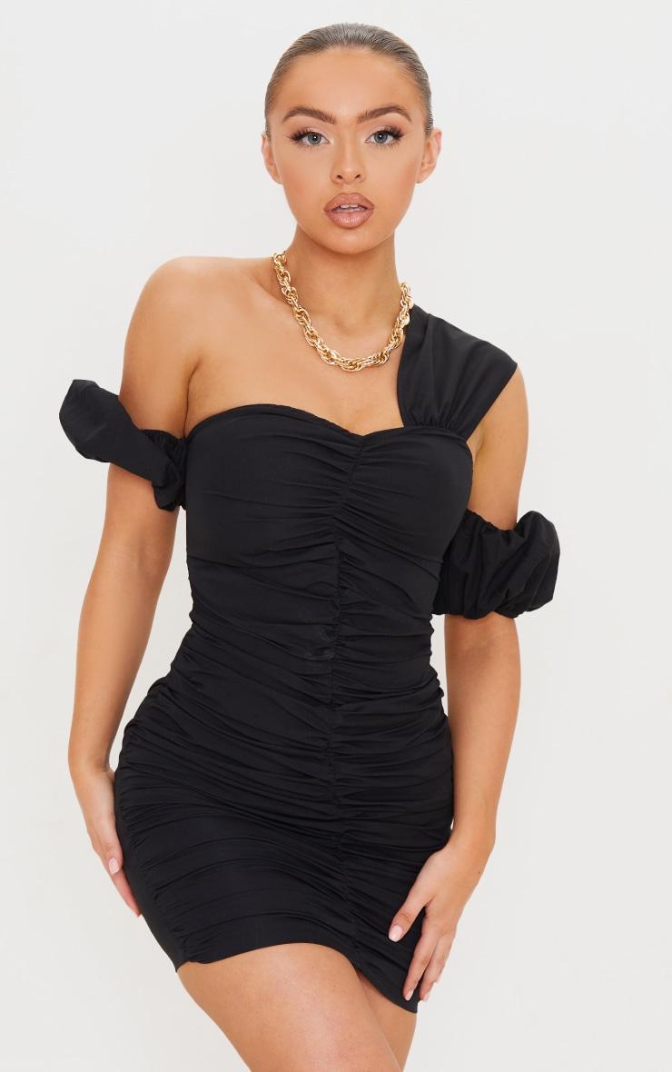 Black Woven Ruched Bardot Detail Bodycon Dress 1