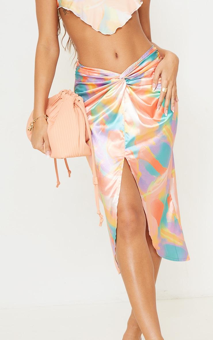 Multi Pastel Print Satin Shimmer Twist Front Midi Skirt 4