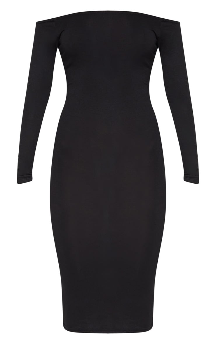 Basic Black Jersey Bardot Midi Dress 3