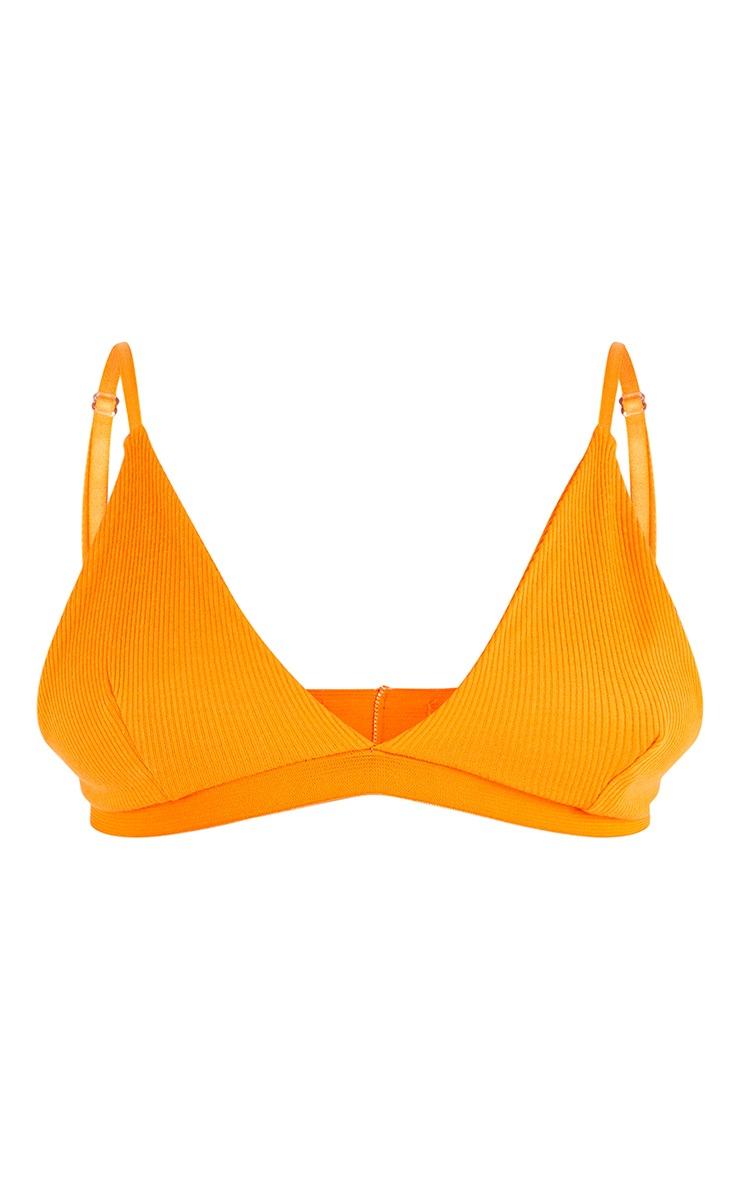 Bright Orange Ribbed Plunge Bralet 5