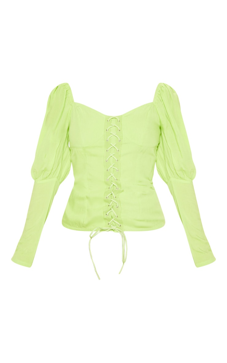 Petite Neon Lime Lace Up Cup Sleeve Puff Long Sleeve  Top 3