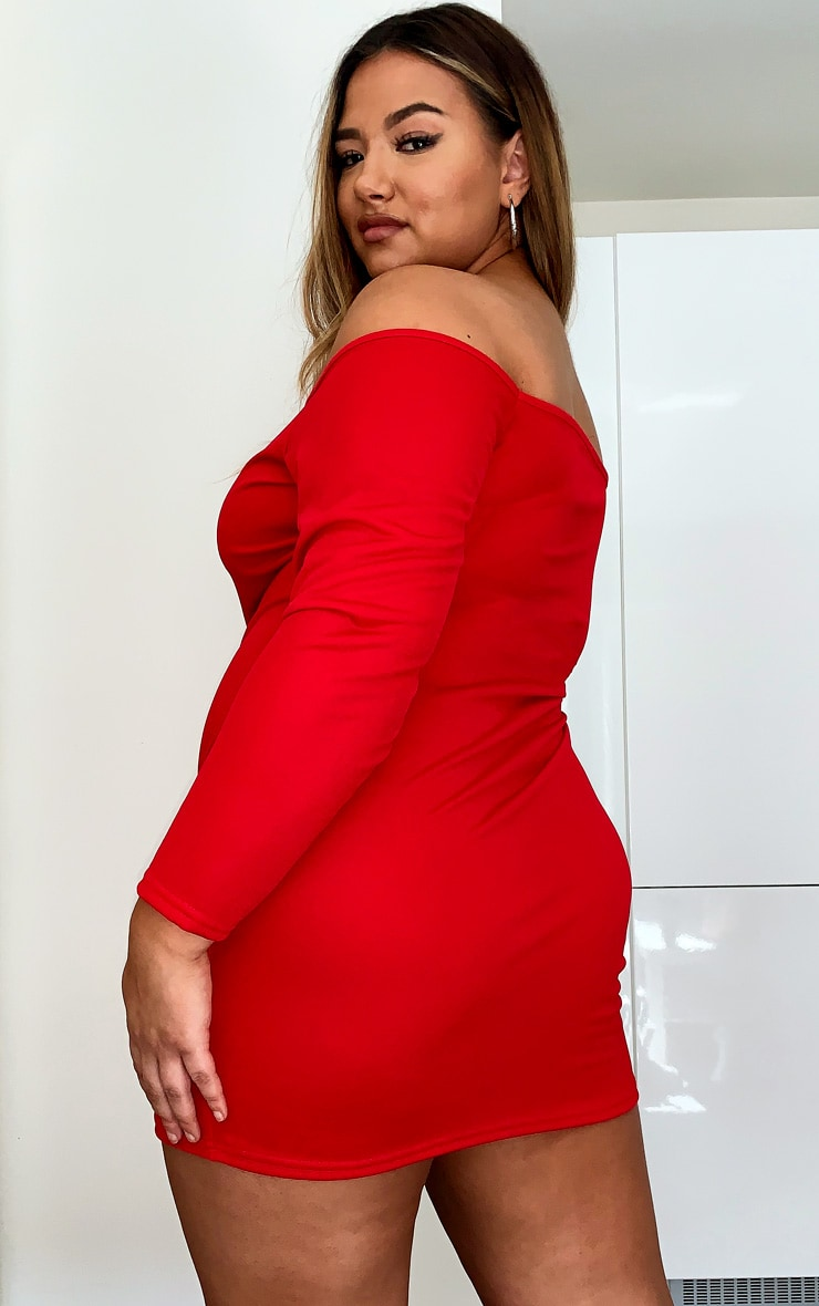 Plus Red Bardot Bodycon Dress 2
