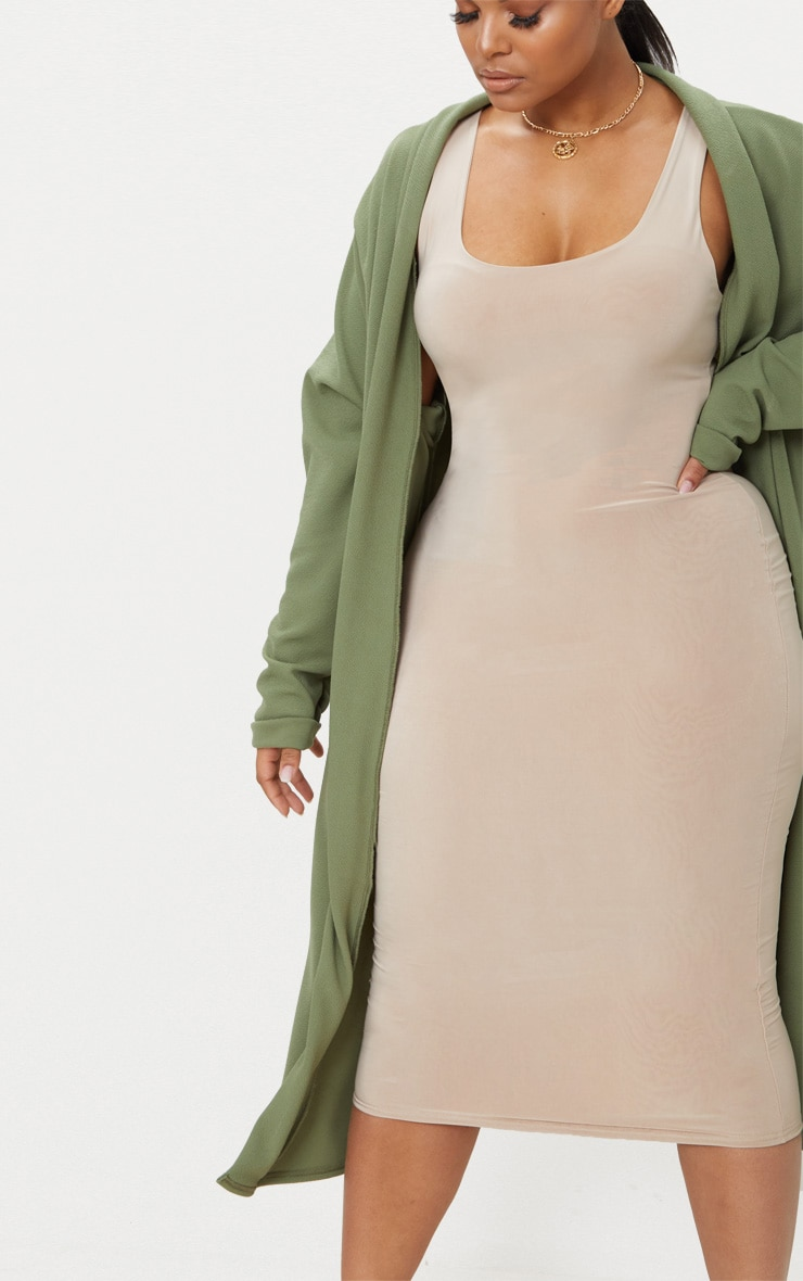 Plus Khaki Crepe Maxi Duster Jacket 4