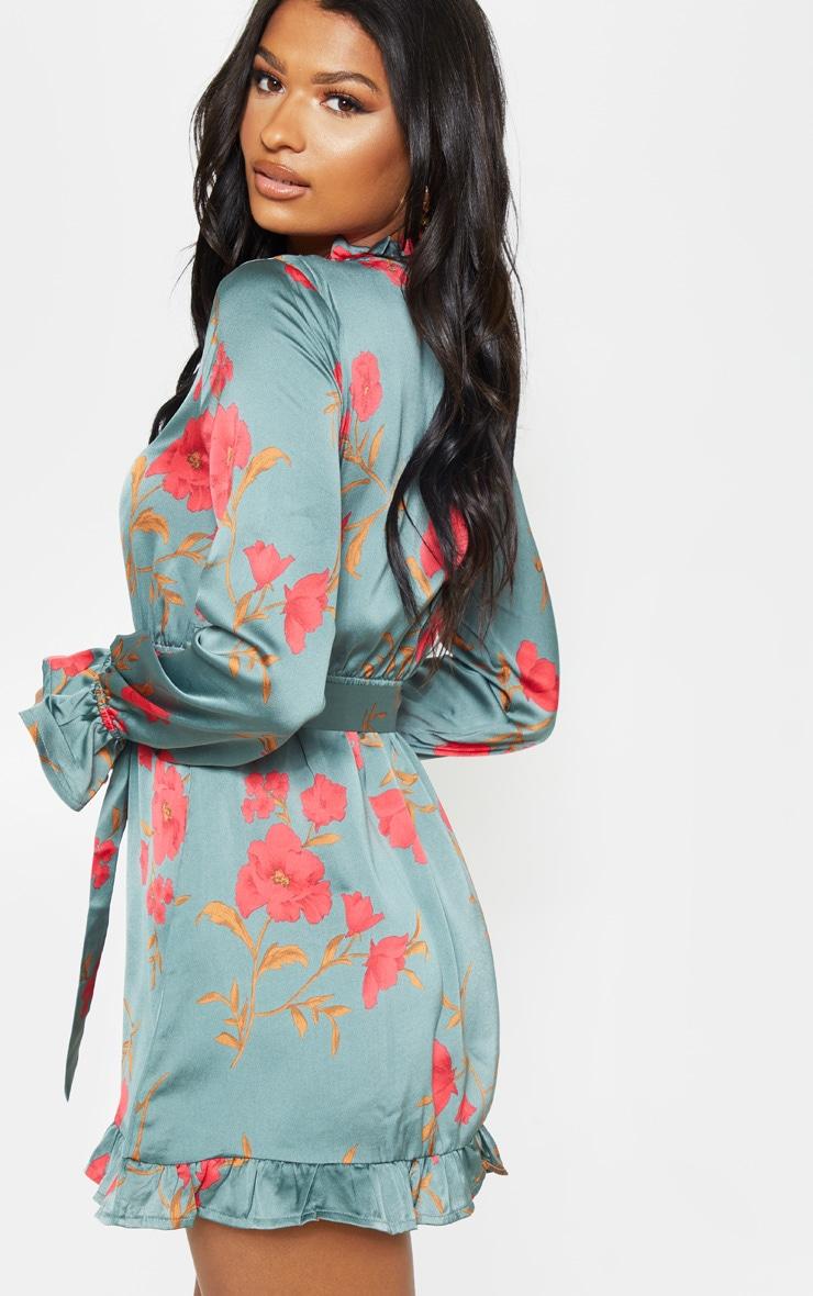 Teal Floral Print Tie Neck Frill Shift Dress 2
