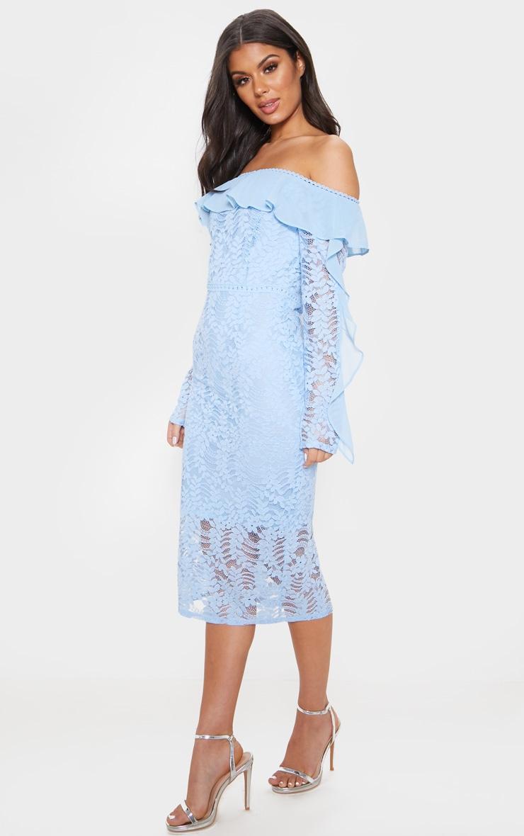 ffe7254554cc Dusty Blue Bardot Lace Frill Sleeve Midi Dress   PrettyLittleThing