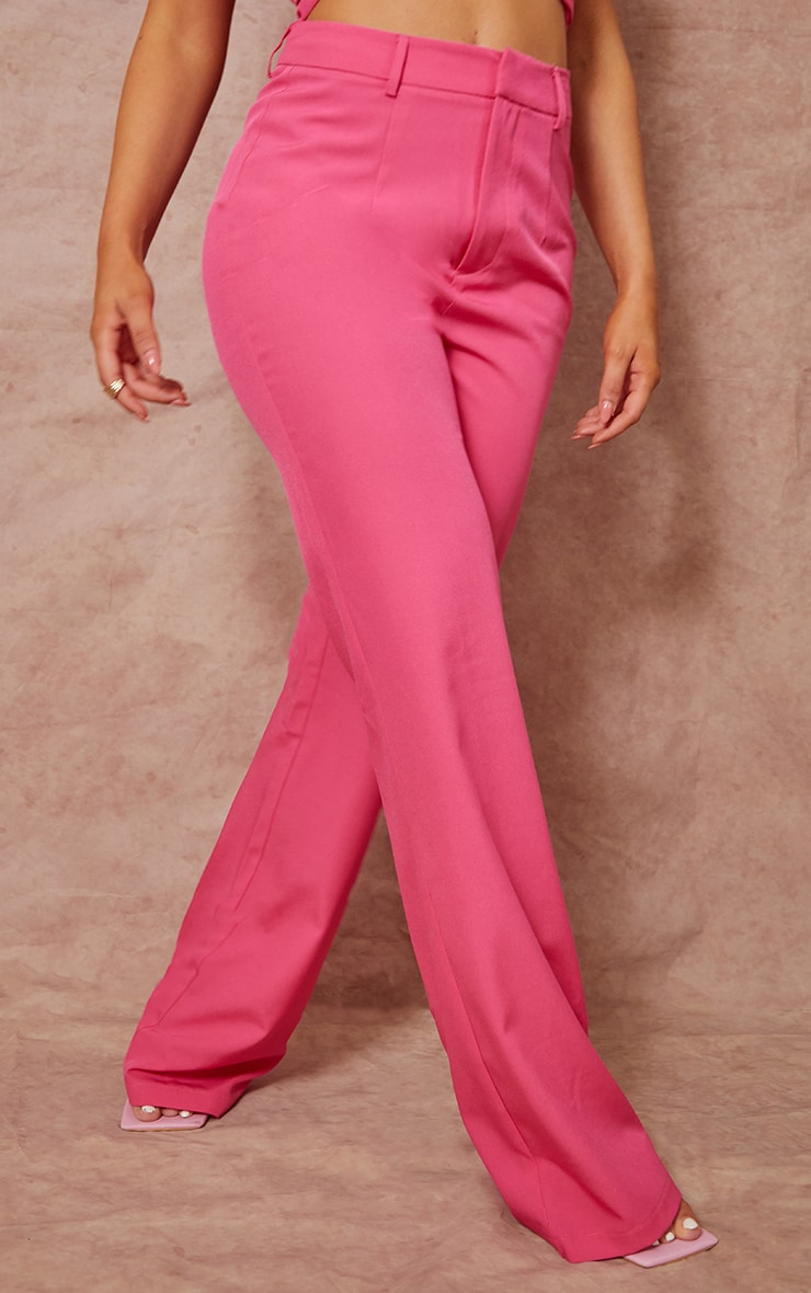 Hot Pink Woven Zip Front Straight Leg Trousers 2