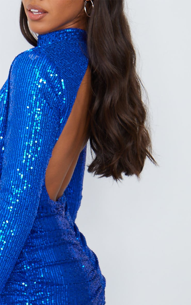 Cobalt Sequin High Neck Open Back Gathered Skirt Bodycon Dress 4