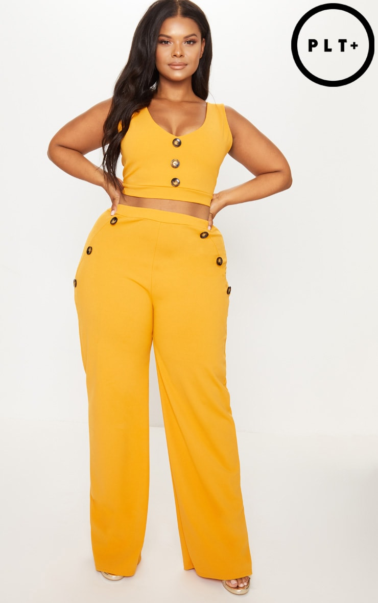Plus Mustard Button Detail Wide Leg Trousers