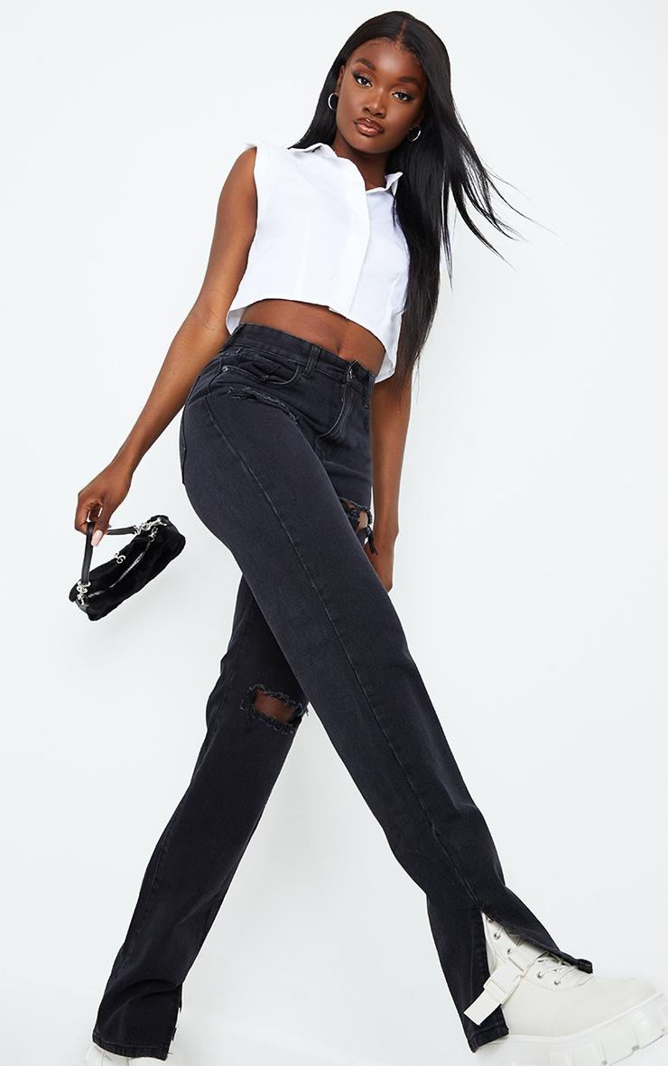 Tall Black Ripped Split Hem Jeans 1