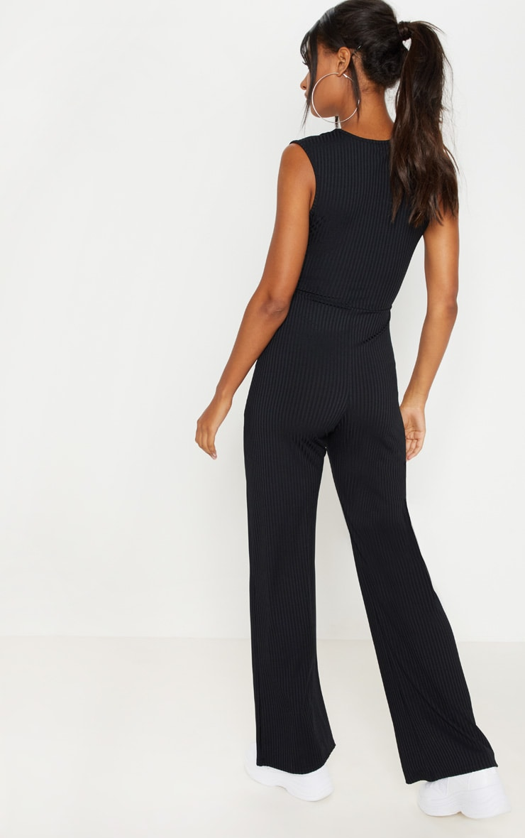 Black Ribbed Tie Waist Wide Leg Jumpsuit 2