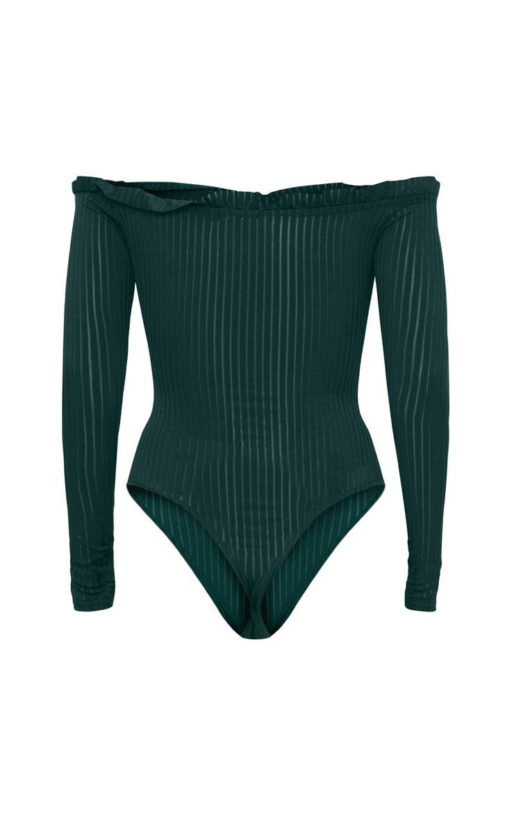 Emerald Green  Mesh Stripe Bardot Long Sleeve Thong Bodysuit 3