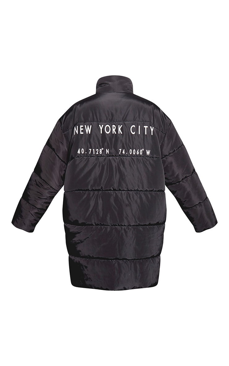 Plus Black Slogan Midi Puffer Coat 4