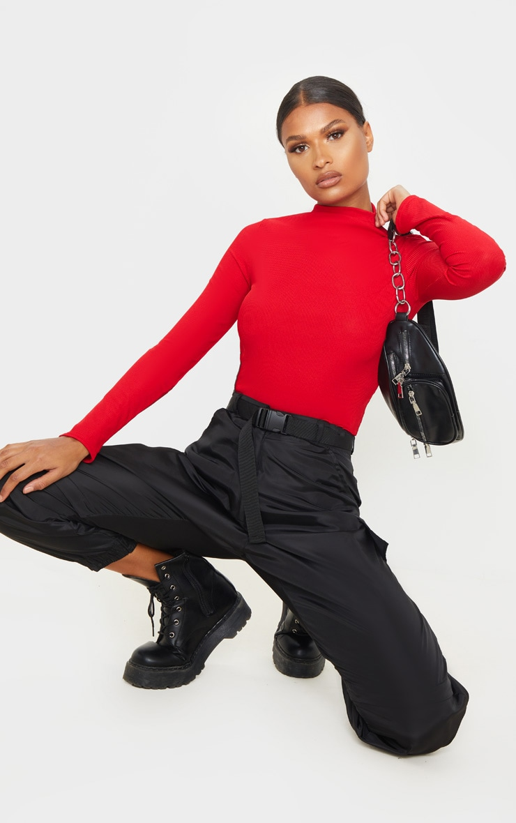 Red Rib Funnel Neck Top 4